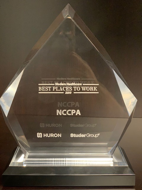 NCCPA 2019 Best Places to Work trophy